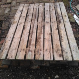 old wooden pallet lying on the ground